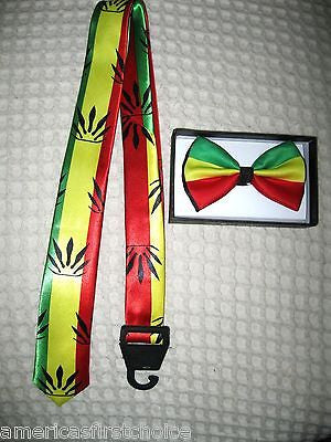 Rasta Adjustable Bow Tie,Rasta Tie Adjustable Suspenders,& Rasta Lanyard Combo