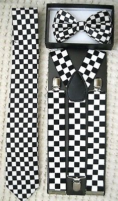 "Black&White Checkers Bow tie,Necktie,and Wide 1 1/2"" B&W Checkered Suspenders-V1"