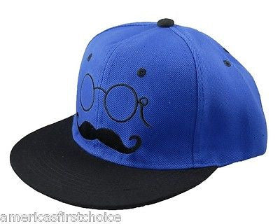 Unisex Fashion Trucker Blue Hat w/ Embroidered Mustache & Sunglasses Cap-New