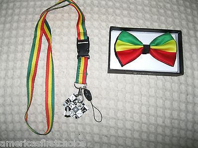 Rasta Adjustable Bow Tie,Rasta Tie, and Rasta Stripe Adjustable Suspenders Combo