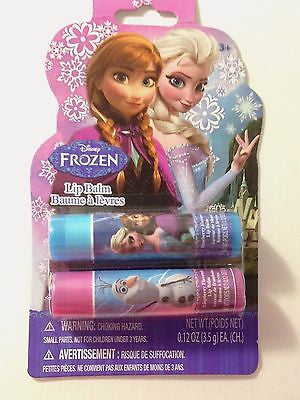 Frozen Anna Elsa Olaf 2 Lip Balm Set- 2 .12 oz Blueberry and Raspberry Lip Balms