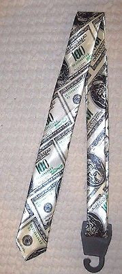 Unisex Men's Shinny Benjamins $100 One Hundred Dollar Bills Green Tie Necktie