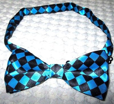 FRENCH BLUE TURQUOISE CHECKERS DIAMONDS ADJUSTABLE TUXEDO BOW TIE-NEW GIFT BOX!