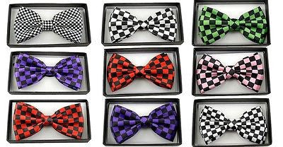 PINK & BLACK CHECKER CHECKERED ADJUSTABLE BOW TIE-NEW!BLACK PINK CHECKER BOWTIE