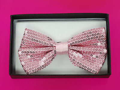 Unisex Light Pink Sequin Tuxedo Classic BowTie Neckwear Adjustable Bow Tie-New