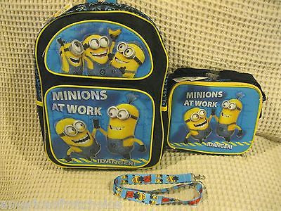 "Despicable Me 2 Minions At Work 16"" Backpack & Lunch Box Lunch Bag + Lanyard-New"