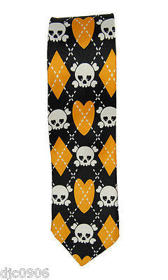 "Unisex Black with  White Skulls Crossbones Orange Diamonds Neck tie 56"" L x 2"" W"