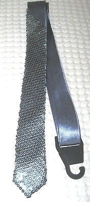 "Unisex Goth Men's Silver Sparkle Sequin Wedding Fashion Neck tie 56""L x 2""W-New2"