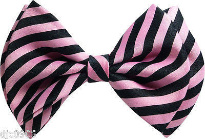 LIGHT PINK AND BLACK SWIRLS STRIPED ADJUSTABLE BOW TIE-NEW GIFT BOX!PINK BOW TIE