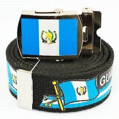 "Canvas Military ""Guatemala"" Blue&White Stripes Flag Web Belt & Match Belt Buckle"