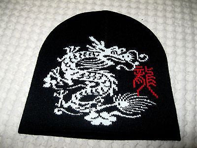 Large Chinese White Dragon on Black Winter Knitted Skull Beanie Ski Cap-New!