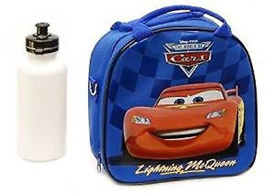 BLUE Disney Cars Lightening McQueen Insulated Lunch Box Bag + Water Bottle-New