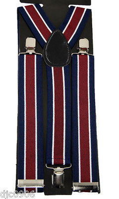 "Thick 1 1/2"" Solid  Burgundy Y-Style Back suspenders-New in Package!"