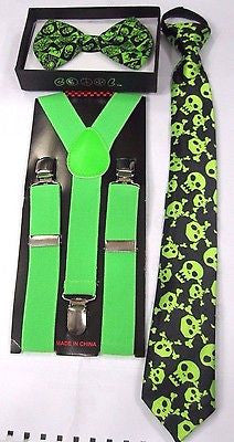 Teens GREEN Skulls Adjustable Bow Tie +GREEN Y-Back adjustable Suspenders-New!2