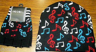 Red White Blue Musical Notes Beanie Ski Cap + Musical Notes Match Gloves -New!