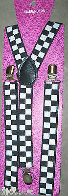 Unisex Black Large White Checkered Adjustable Y-Style suspenders-New in Pkg