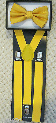 YELLOW DIAMOND MESH PATTERN  ADJUSTABLE  BOW TIE + YELLOW Y-BACK ADJ SUSPENDERS