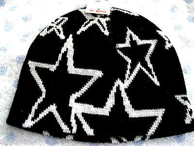 White Stars on Black Winter Knitted Skull Beanie Ski Cap -New with Tags!