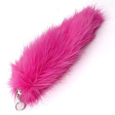 "BLACK AND WHITE STRIPES FAUX FOX TAIL FOXTAIL KEYCHAIN 12"" CLIP-BRAND NEW!"