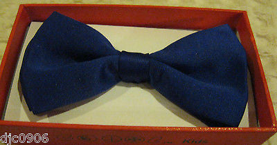 Blue  Kid's Boys Girls Y-Style Back Adjustable Bow Tie & White Kid suspenders-