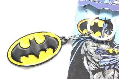Batman All Brass metallic & Yellow Logo Key Chain Key Ring by DC Comics-New!