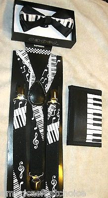 Black White Musical Notes Piano Keys Suspenders,Wallet & matching Bowtie Bow Tie
