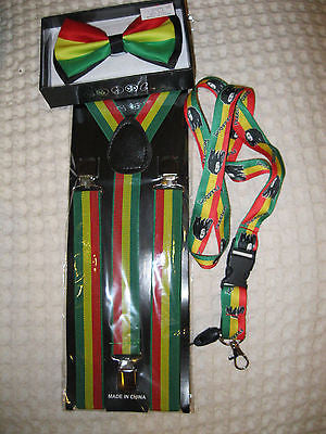 Rasta (green/yellow/red) Adjustable Bowtie,Rasta Suspenders,&Rasta Lanyard Combo