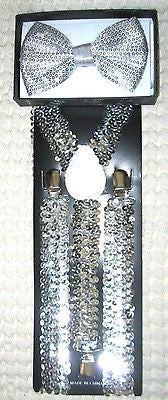 Silver Sequin Adjustable Bow tie & Silver Sequin Adj. Suspenders Combo-New! V2
