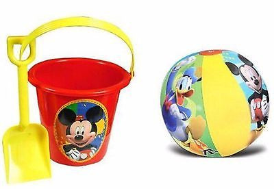 "Mickey Mouse Sand Bucket Pail and Sand Shovel + 20"" Inflatable Beach Ball Set"