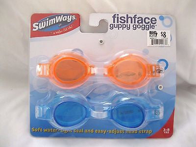 2 Pairs of Fishface Dolphin Swim Goggles Neon Yellow+Purple Soft Eye Cups-New!