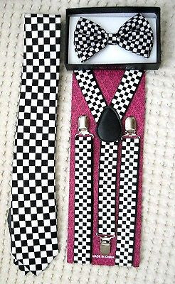 Yellow Adj Bow tie,Yellow Necktie and Black&Yellow Checkers Checkered Suspenders