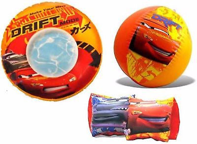 "Disney The Cars McQueen The Cars 20"" Beach Ball,Swim Ring, and Surf Rider-New!"