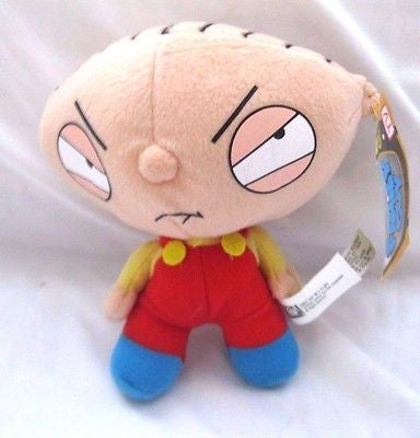 "6 1/2"" Stewie wearing red overalls and Large Head Soft Stuffed Toy-Brand New!"