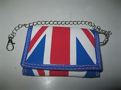 UK British England Flag Red White Blue Canvas Velcro Wallet-New in Package!