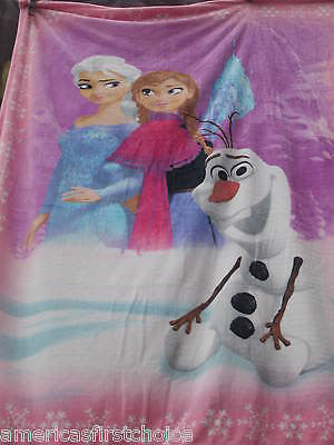 Disney Frozen Ultra Soft  Blue Blanket/Throw Frozen Hearts Anna and Elsa-New!!!