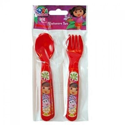 Dora the Explorer Red Flatware 2 forks and 2 spoons by Nickeledeon Nick Jr.-New