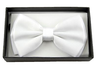 Unisex SHINY WHITE Tuxedo Classic BowTie Neckwear Adjustable Bow Tie-NEW IN BOX!