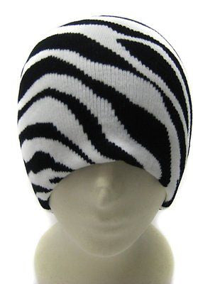 Black and White Zebra Animal Print Winter Knitted Skull Beanie Ski Cap-New!