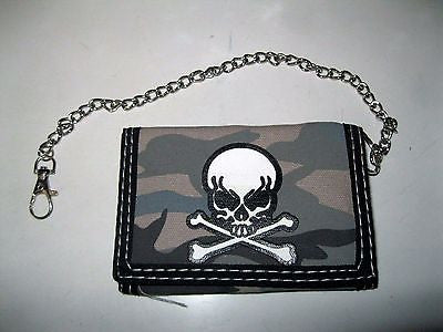 "Skull and Crossbones Camouflage Wallet Unisex Men's 4.5"" x 3"" W-New in Package!2"