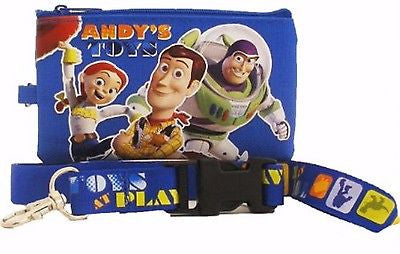 DISNEY TOY STORY ANDY'S TOYS LANYARD WITH DETACHABLE COIN POUCH/WALLET/PURSE-NEW