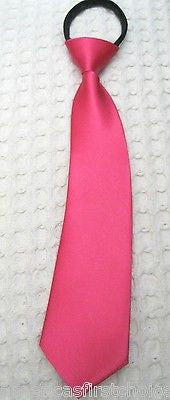 "Teens Kids Boys Hot Pink 11.5"" Easy Zip-Up Pre-Tied Necktie Neck Tie-New!"