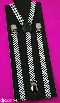 "Unisex 1"" Black & Yellow Checkered Adjustable Y-Style Back suspenders-New"