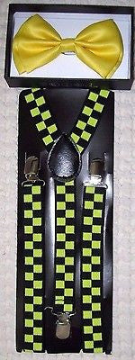 Solid Yellow Adjustable Bow Tie & Yellow and Black Checkers Checkered Suspenders