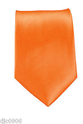"9 Unisex Bright Neon Orange Silk Feel Polyester Neck tie 56"" Lx3"" W-OrangeTie"
