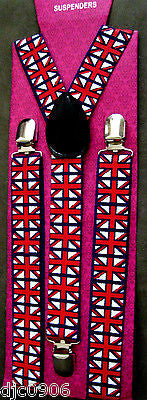 UK British England Red,White,& Blue Adjustable Y-Back Suspenders-New in Pkg!V8