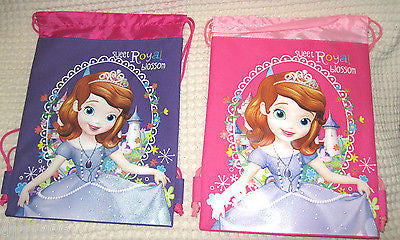 2 LITTLE PRINCESS PURPLE AND PINK DRAWSTRING BAG BACKPACKS TRAVEL STRING POUCHES