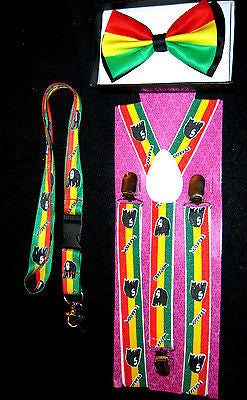 Rasta Adjustable Bow Tie,Adjustable Suspenders,& Bob Marley Rasta Lanyard Combo