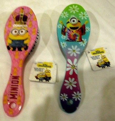 "Despicable Me Minions Bob Pink and Stuart Turquoise 7"" Hair Brush 2pc Combo-New!"