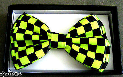 Neon Green Black Checkered Adjustable Bowtie & Neon Green Suspenders Combo-New!