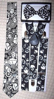 Unisex Small Skulls,Laughing Skulls Neck Tie,& Wide Skulls Suspenders Combo-New3